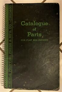 Rare Antique 1989 Miehle Printing Press Catalogue Of Parts For Flat Bed Presses