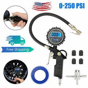 0 250 Psi Car Suv Digital Tire Inflator With Pressure Gauge Air Chuck Compressor