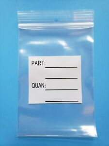 4 X 6 Parts Bags Reclosable Plastic Zip Lock Heavy 4mil Hang Hole White Block