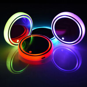 Colorful Led Car Cup Holder Pad Mat For Auto Interior Atmosphere Lamp Lights