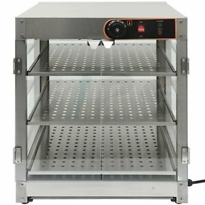 Commercial Food Warmer Countertop Pizza Pastry Warmer Display Case 3 tier Class