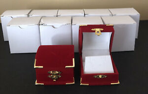 11 Red Velvet Earrings Jewelry Gift Boxes Display Treasure Chest