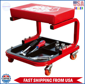 Creeper Seat Rolling Mechanic Chair Garage With Tool Tray Stool Auto Repair