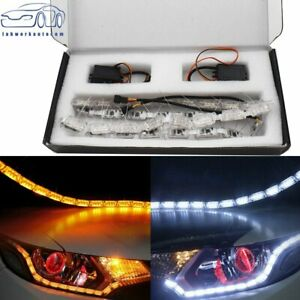 2x Switchback Led Strip Lights With Sequential Signal For Headlight Retrofit Us