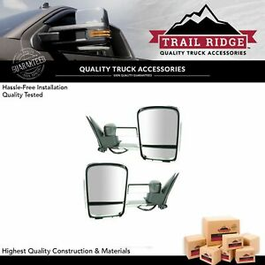 Trail Ridge Towing Mirror Power Heated Signal Chrome Pair Set For Chevy Gmc New