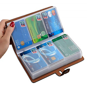 Rfid Credit Card Holder Leather Business Card Organizer With 96 Card Slots For