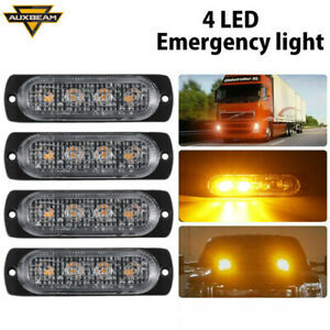 Car 4 Led Strobe Emergency Lamps Surface Mount Flashing Lights For Truck Pickup