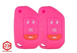 2x New Key Fob Remote Fobik Silicone Cover Fit For Jeep Gladiator Wrangler