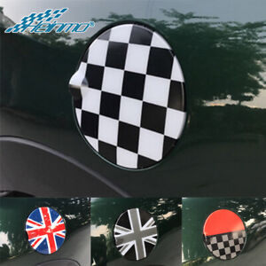 Checkered Car Fuel Gas Lid Tank Door Cover For Mini F55 F56 Hardtop Hatchback