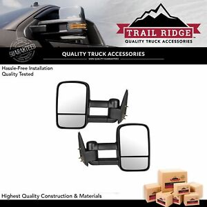 Trail Ridge Tow Mirror Manual Textured Black Pair Set For Gm Pickup Suv New