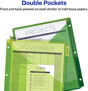 8 tab Plastic Binder Dividers With Pockets Insertable Multicolor Big Tabs