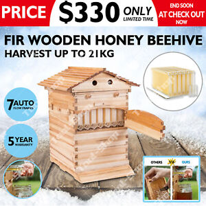 Wooden Beekeeping Bee Hive House Box With 7pcs Autoflow Honey Beehive Frames Us