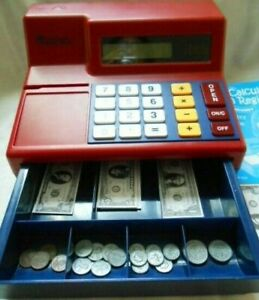 Learning Resources Pretend Play Calculator Cash Register W Money Manual used