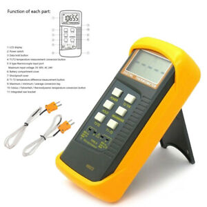 Dual Channel K Type Digital Thermocouple Thermometer 6802 Ii Sensor Probes Tool