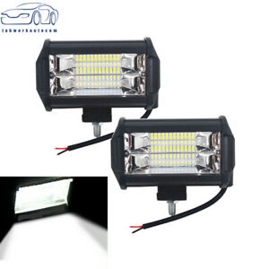 2x 5 12v Led Pod Work Rv Light Bar Flood Beam Off road Driving Fog Lights