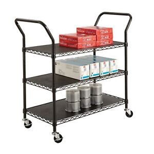 Safco 3 shelf Wire Utility Cart With 600 Lb Rating Black