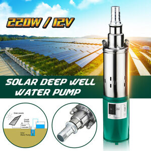 Us 220w 12v 1 2m Electric Solar Deep Well Water Pump Submersible Bore Hole Pond