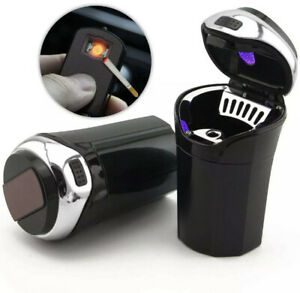 Car Ashtray With Lid Blue Led Light Removable Lighter For Most Car Cup Holder