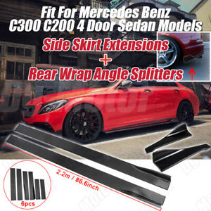 Fit For Mercedes Benz C200 C300 C250 W204 W205 Rear Side Skirt Extension Kit