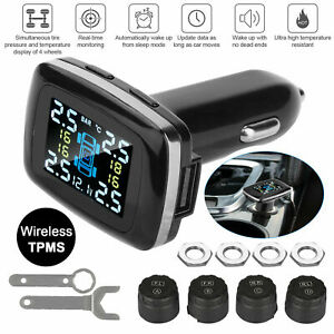 Car Tpms Tire Pressure Monitoring System Wireless 4 Sensors Cigarette Lighter Us