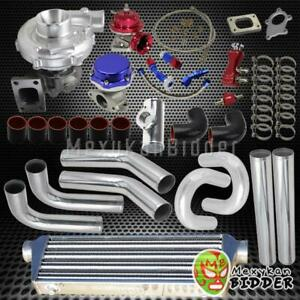 T3 t4 Univerial Turbo Upgrade Kit W wastegate bov oil Lines coupler piping Chro