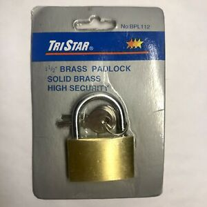Nos 1 5 Solid Brass Padlock High Security New Tri Star With 2 Keys Nip