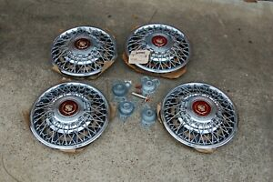 4 New 81 85 Cadillac Deville Seville Wire Spoke Locking 15 Hubcap Cover