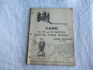 1950 Case A B D Mounted Tractor Power Mower Parts Catalog Book Manual