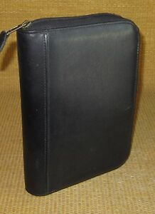 Classic desk 75 Rings Black Durable Sim Leather Day timer Zip Planner binder