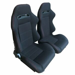 Pair Of Reclinable Bucket Seats Chairs Pvc Leather Sport Racing slider Black