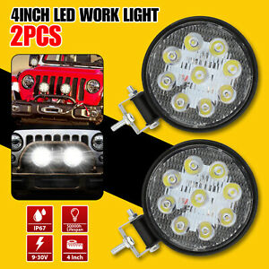 2x4 Round Led Spot Light Pods Work Flood Driving Fog Lamp Offroad 4wd Atv Truck