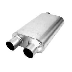 Thrush 17638 Welded Muffler 2 5in Offset Inlet 2 5in Dual Outlet Outlet