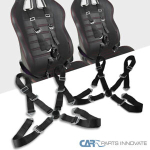2x Black 4 Pt Point Camlock Safety Harness Racing Seat Belt