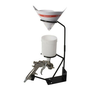 Gravity Feed Paint Spray Gun Stand With Strainer Holder Hvlp Wall Bench Mount Us