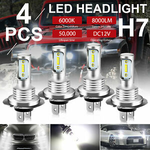 4pcs H7 Led Headlight High Low Beam Bulb 6000k White 110w Drl Driving Fog Light