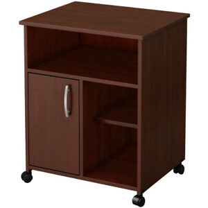 Home Office Mobile File Cabinet Wooden Printer Stand Open Storage Shelf W Door