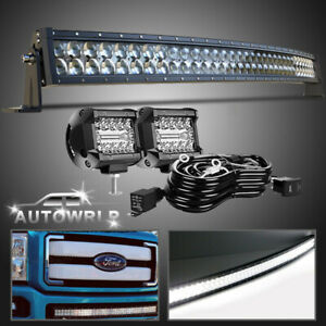 Curved 40 Led Light Bar Combo Kit For Ford F 250 F 350 Super Duty 2011 16 Truck