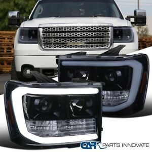 For Gmc 07 14 Sierra 1500 2500hd 3500hd Glossy Black Led Drl Projector Headlight Fits More Than One Vehicle