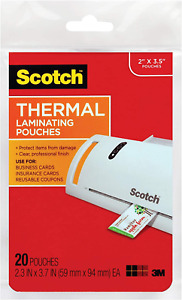 Tp5851 20 Scotch Business Card Size Thermal Laminating Pouches 5 Mil 3 3 4 X 2