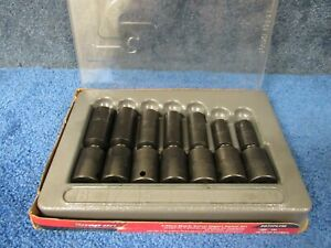 Snap On 7 Pc 3 8 Drive 6 point Metric Flank Drive Deep Impact Swivel Socket Set