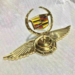 Gold Wings Alloy 3d Logo Front Hood Ornament Emblem Sticker For Series Cadillac