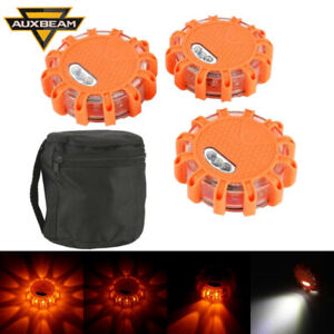 3pcs Rechargeable Magnetic Emergency Hazard Amber Warning Lights Strobe Lamp bag