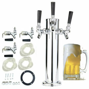 Bar Stainless Steel Silver Drink Beer Dispenser Kits 3 tap Triple Faucet Durable