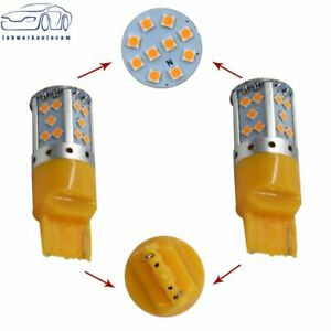 2 No Resistor Amber Yellow 7440 T20 35smd Led Bulbs Turn Signal Lights Canbus