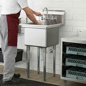 Commercial Kitchen Utility Prep Wash Sink W Faucet 1 Compartment Stainless Steel