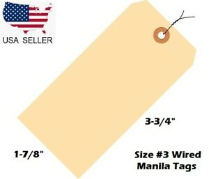 Pack Of 100 Size 3 Manila Inventory Shipping Hang Tags With Wire 3 3 4 X 1 7 8