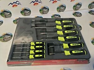 New 2021 Snap On 10pc Instinct Grip Screwdrivers Set Sgdx6040bhv Yellow Hv