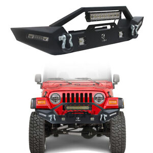 For 97 06 Jeep Wrangler Tj New Black Front Bumper With Winch Plate Led Lights