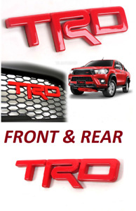 2x Red Front Trd Metal Grille Rear Abs Sticker Tape Badge Emblem 4runner Tacoma