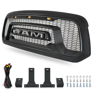 Mesh Grille Rebel Style Fit For 2013 2018 Dodge Ram 1500 Front Grill Hood Led Us